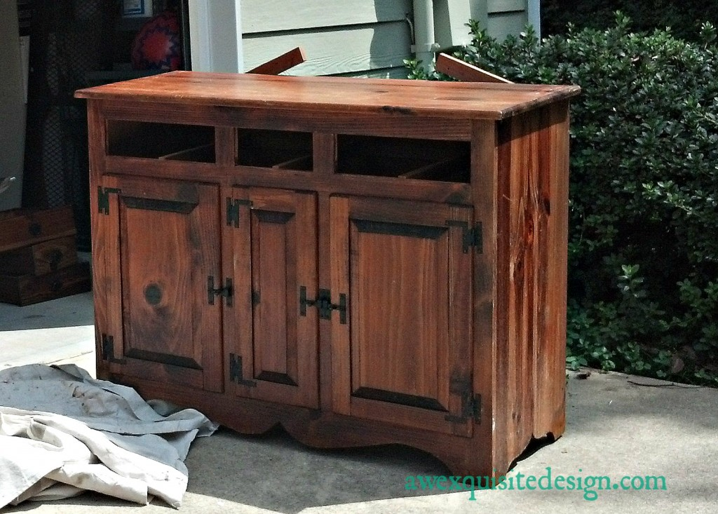 My special Craigs List find- a beautiful pine hutch that I will be refinishing