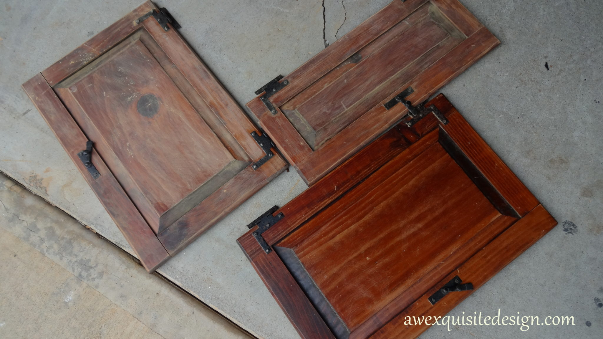The doors --  one that is pre-sanding and two that are sanded.