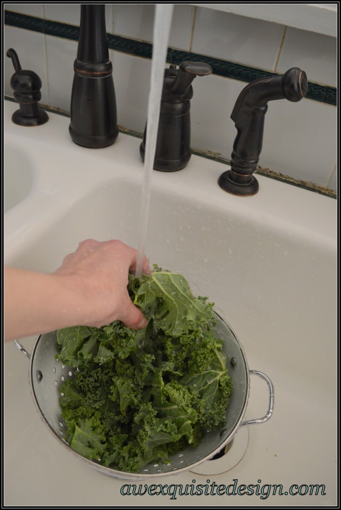 Rinsing Kale Leaves