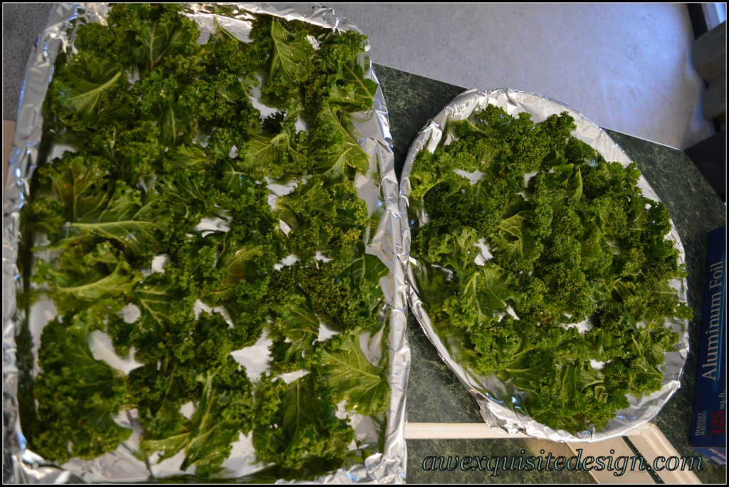 Kale Leaves On Baking Sheets