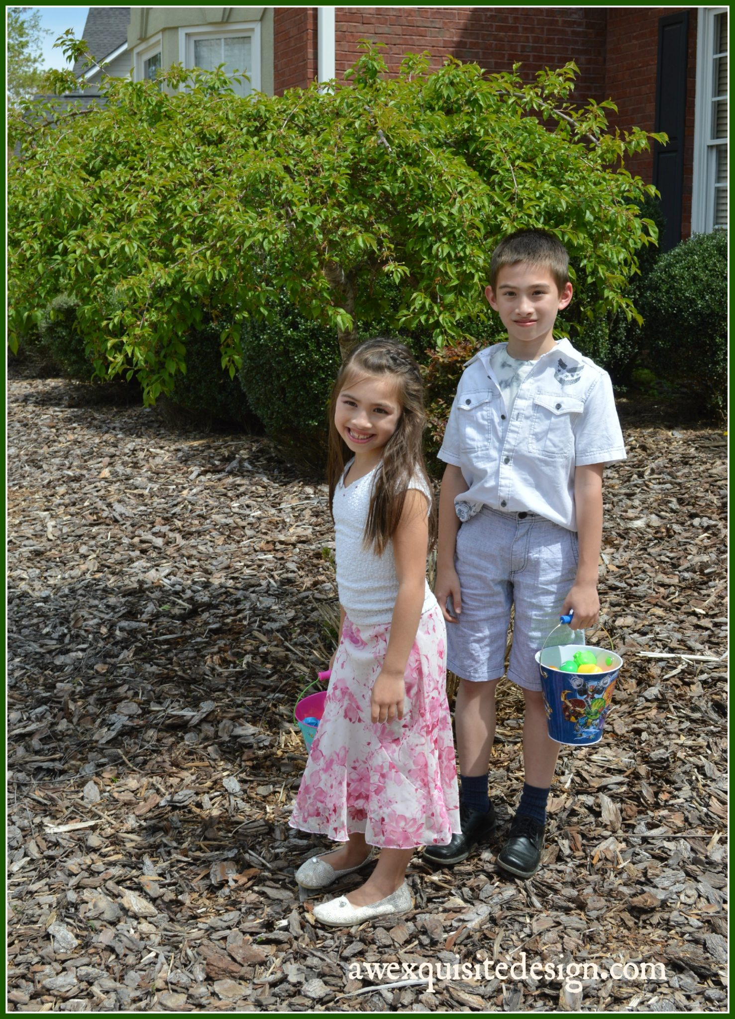 Kids posing before the anticipated egg hunt.