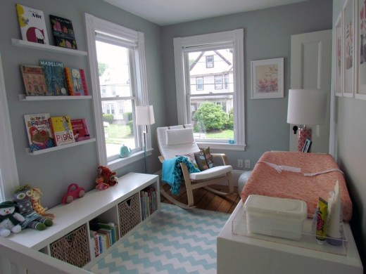 Zoe gets a modern, clean bedroom! With a Poang rocker and a bookshelf seat- how cute!