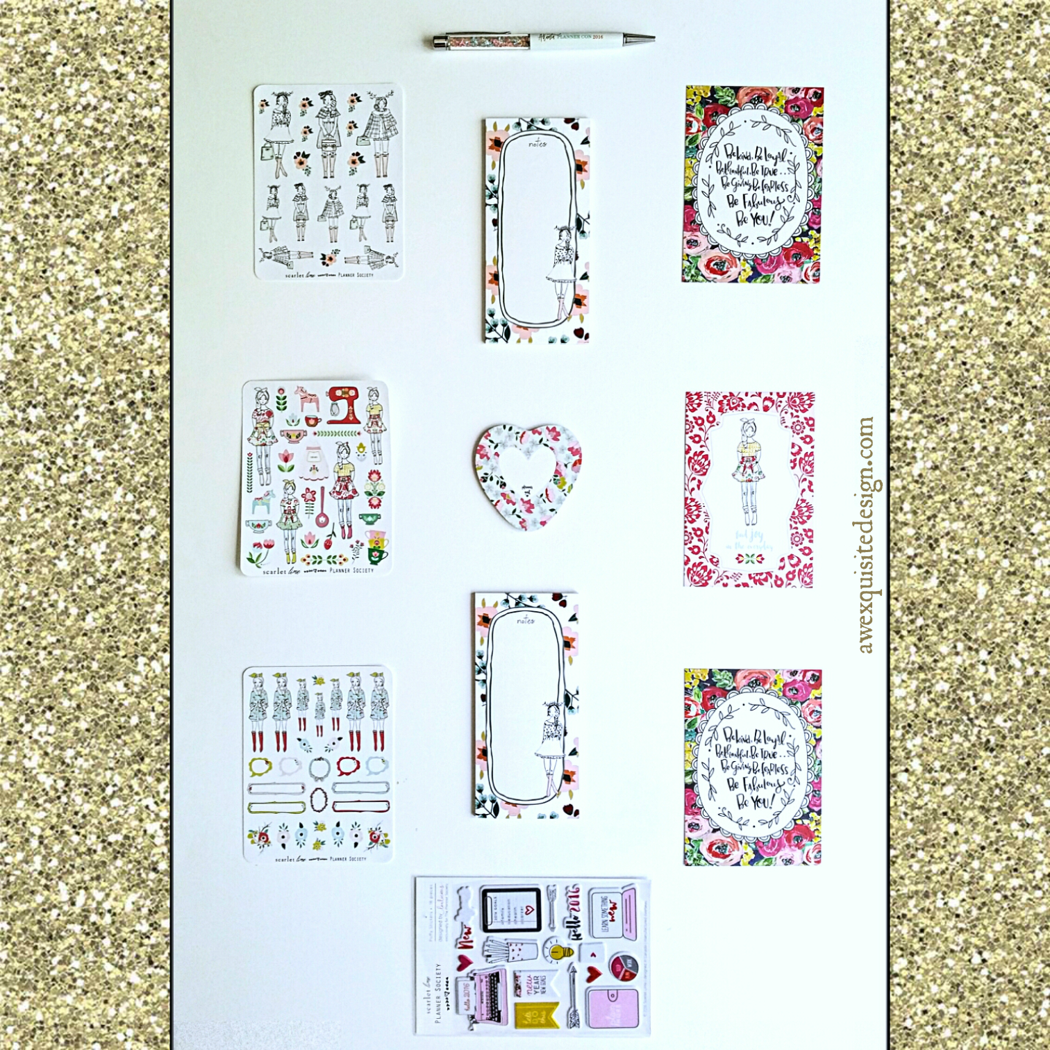 planner accessories collage gold awexquisitedesign